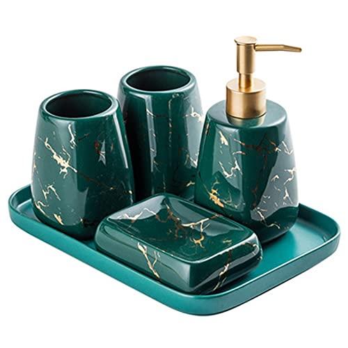 BAIHAO Juego de Accesorios de cerámica para baño, Juego de Lavado Verde de 5 Piezas, Incluye dispensador de jabón, Soporte para Cepillo de Dientes, Vaso, jabonera, Bandeja