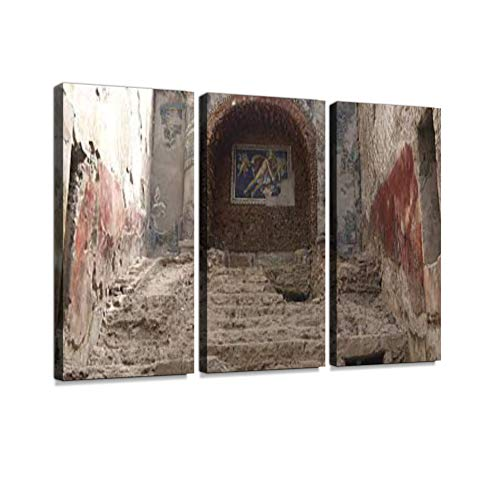 Ancient Civilization Pompeii Wall Painting Mural in Italy. Print On Canvas Wall Artwork Modern Photography Home Decor Unique Pattern Stretched and Framed 3 Piece