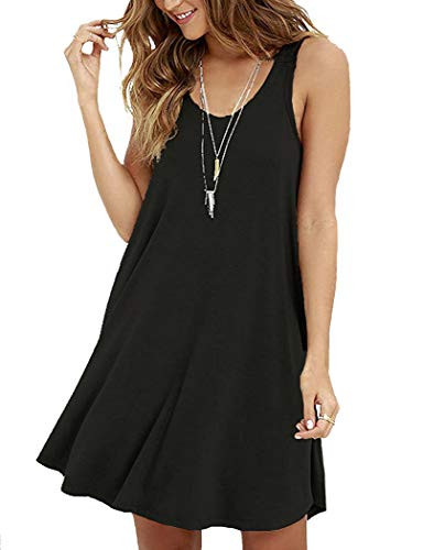 VIISHOW Women Sleeveless Summer Swing Tank Sundress,Black,Small