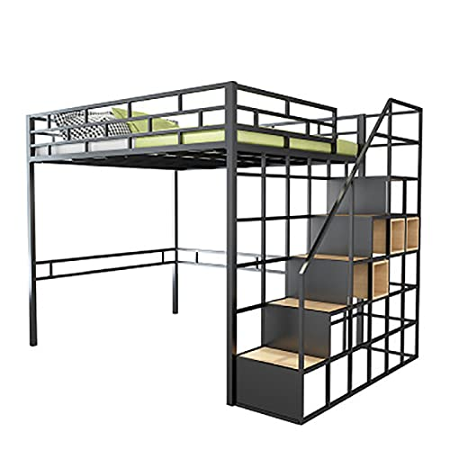Cama Loft De Hierro Forjado Dormitorio En Casa Cama Doble De Hierro Forjado Dormitorio De Estudiantes Litera De Celosía Elevada Litera