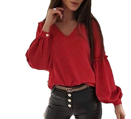 x8jdieu3 Early Spring Hedging Collage Stitching V-Neck Lantern Sleeves Solid Color Long-Sleeved Temperament Commuter Light Mature Blouse Bottoming Shirt Women Red