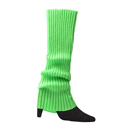 bobeini Frauen Halloween 80er Jahre Neon farbige Strick Beinlinge gerippt hell fußlose Socken Neongrün