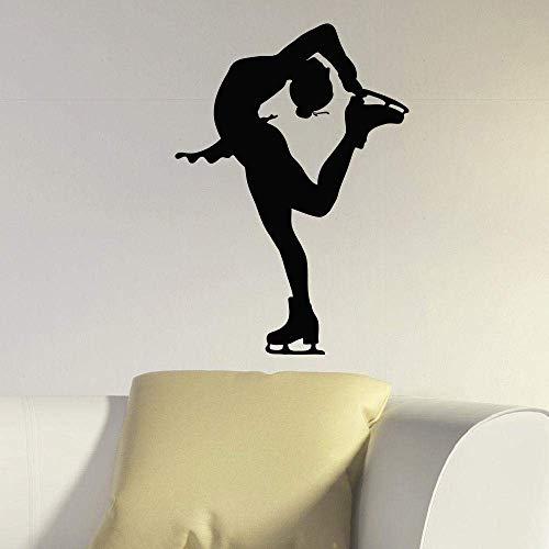 Adhesivo De Vinilo Sport Gym Girl Wall Art Mural Girl Skater Ice Patinaje Artístico Calcomanía De Pared Girls Room Decor Gym Wall Art Poster 57 * 80Cm