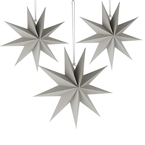 9-Pointed Paper Star,Paper Lanterns Decorations,Star Paper Garland,3D Stars Party Decor,3PCS Christmas Hanging Star,with Beads and Rope,Diameter 30cm,for Nursery/Birthday/Wedding