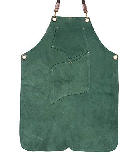 Angus Stoke Premium Lederschürze - Vollleder Grillschürze - one-Cut Vintage Leder Schürze - BBQ & Küche - Archie (XXL-XXXL, Dunkelgrün)
