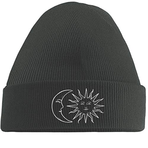 Hippowarehouse Moon and Sun Embroidered Beanie Hat Grey