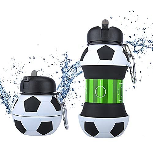 IWILCS Kids Water Bottle Silicone Collapsible Drink Bottle Football Water Bottle Kids Water Bottles BPA Free, Leakproof, Boys Water Bottle 500ml Travel Sports Drink Bottle for Kids