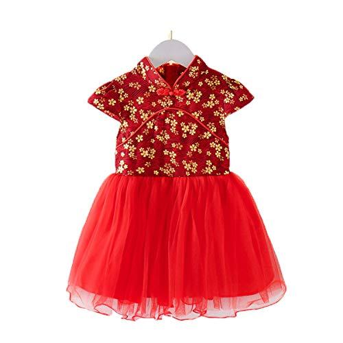 Baby Meisjes Prinses Jurk Nieuwjaar Cheongsam Chinese Traditionele Bloemen Qipao Prinses Tutu Rok Kostuum