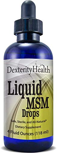 Dexterity Health Liquid MSM Drops, 4 oz. Dropper-Top Bottle, 100% Sterile, Safe, Vegan, Non-GMO and All-Natural, Contains Organic MSM, Contains Vitamin C as a Natural Preservative
