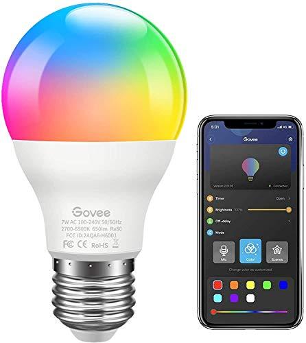 Govee LED RGB Lampe, dimmbare 7W E27 RGB+W Sync mit Musik farbwechsel Glühbirne mit APP | dimmbar mehrfarbige Leuchtmittel für Haus Dekoration, Bar, Party, KTV Bühne, Feiertag, Bettlampe