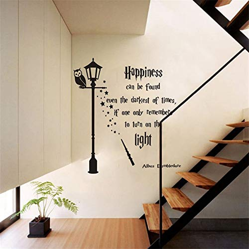 Albus Dumbledore Happiness Quote Vinyl Wall Sticker for Kids Room Harry Potter Decal Mural Nursery Bedroom Art Home Decor