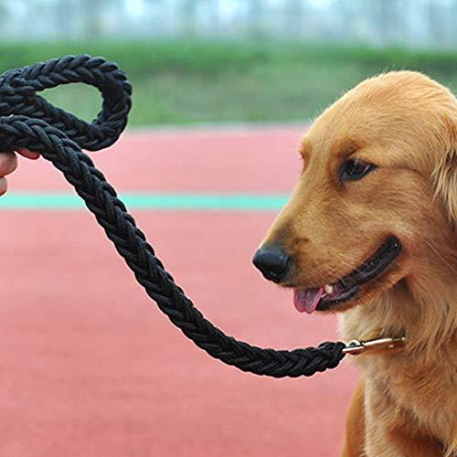 AKDSteel Hundeleine/Hundeleine, dick, geflochten, für große Hunde, Schwarz