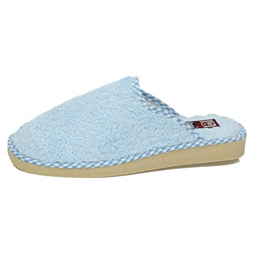 GEMA GARCIA 409 Chinelas Toalla Rizo Mujer Zapatillas CASA Celeste 39