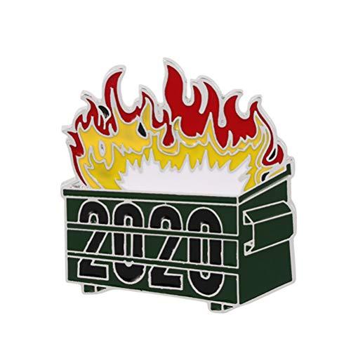 Yunobi Broche de esmalte duro con diseo de basurero verde para decoracin de Navidad de 2020