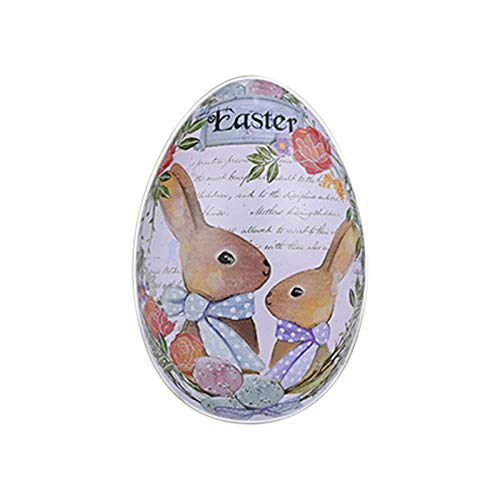Easter Decorations Easter Tinplate Eggs Color Rabbit Iron Eggs Candy Eggshells Easter Decoration Supplies Tinplate Egg Easter Creative Bunny Egg Child Surprise Tin Box (large size)