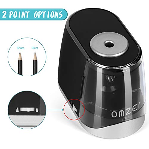 OMZER Electric Pencil Sharpener Heavy Duty - Quick Sharpening and Auto-Stop Operated Safe Design For Kids Adults - Pencil Sharpeners for Colored Pencils with Battery USB Powered for Home Class Office Photo #2