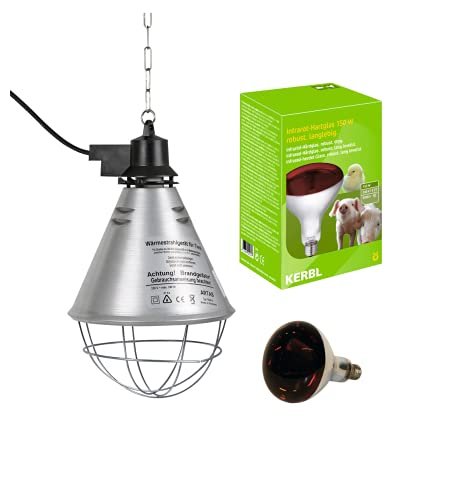 Kerbl – Kit de lámpara de rayos infrarrojos calefactora de 250 W + reflector portalámparas con rejilla de protección, cadena para la fijación y cable de 2,5 m