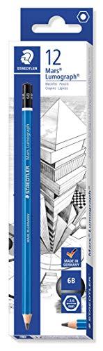 STAEDTLER 100-6B Mars Lumograph Bleistift, 100 Härtegrad, 6B, 12 Stück im Kartonetui