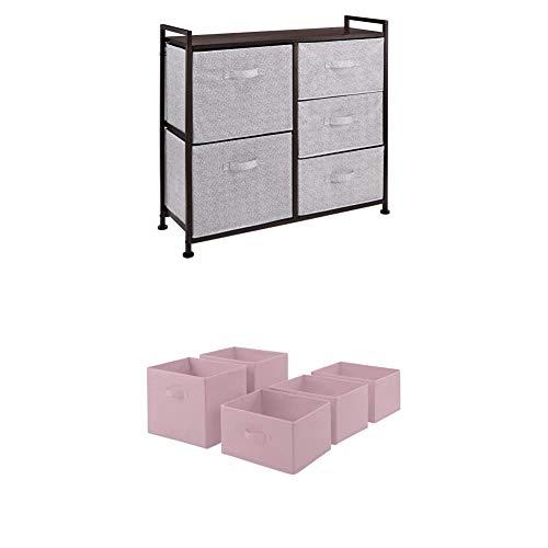 Amazon Basics Unidad de Almacenamiento, de Tela, con 5 cajones, para Armario, Color Bronce + Cajones de Repuesto para Unidad de Almacenamiento de Tela con 5 cajones, Rosa Claro