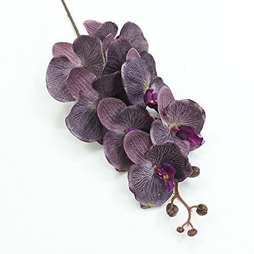 ARWQ857 105cm Flor Artificial Mariposa Orquídea Seda Phalaenopsis para Boda Decoración Hogar Jardín Plantas Falsas Maceta (Color : Dark Purple)