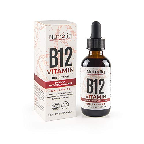 Nutroliq Vitamin B12 Liquid Drops - High-Strength 5000mcg Methylcobalamin Supplement - Energy Booster, Immune System Support, Better Concentration and Metabolism - Vegan & Vegetarian Formula - 60ml