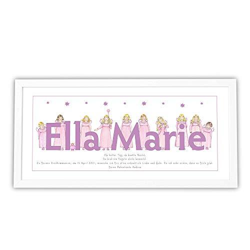 Bild personalisiert mit Rahmen, Baby Geschenk Geburt, Taufe Geburtstag, Kommunion Kinderzimmer Mädchen Schutzengel Taufspruch, Namensbild Format 53x26cm