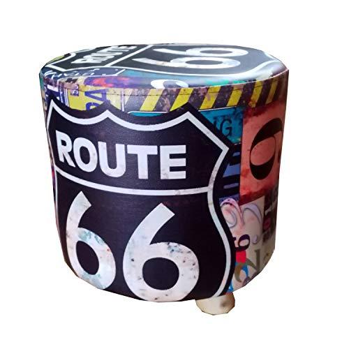 Taburete Madera Redondo, Puff Decorativos, tapizado Piel sintética, 28x28x34 cm - Banco, banqueta, posapies, Asiento bajo. (Route 66 Negro)