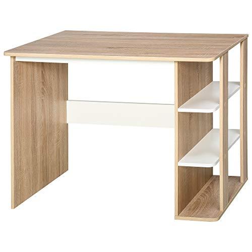 HOMCOM Computer Desk & 3-Tier Side Shelves Wide Table Top Home furniture OAK