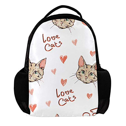 TIZORAX Leuke Katten Schets Achtergrond School Rugzak Rugzak College Bookbag Reizen Laptop Daypack Tas voor Mannen Vrouwen
