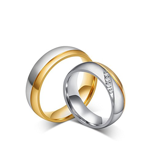AiZnoY Band Rings Stainless Steel Wedding Ring Men Women's Size 49 (15.6) & Men's Size 62 (19.7) Gold Silver Rings Gold Silver