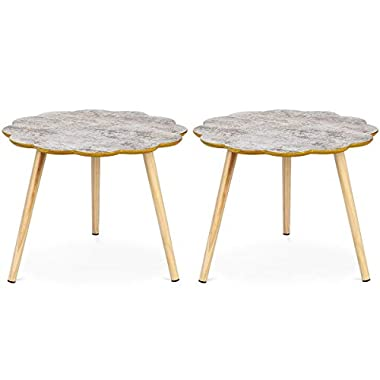 Giantex Set of 2 Nesting Table Flower Shaped Coffee Table Sofa Side Table Accent End Table Home Living Room Furniture