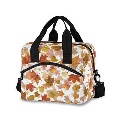 RURUTONG Bolsa de almuerzo aislada hoja de arce otoño reutilizable almuerzo caja nevera bolsa para mujeres hombres adultos trabajo universitario picnic 2010333