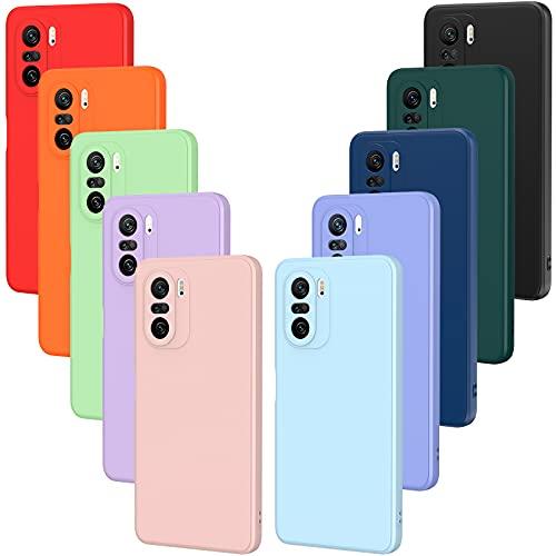 iVoler 10x Custodia Cover per Xiaomi Poco F3 5G / Xiaomi Mi 11i, Sottile Morbido TPU Silicone Antiurto Protettiva Case (Nero, Grigio, Blu Scuro, Blu Cielo, Blu, Verde, Rosa, Rosso, Giallo, Marrone)