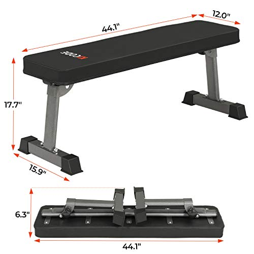 KICODE Flat Bench, Foldable Flat Weight Utility Bench, Heavy Duty Weight Bench For Home Gym, Multi-Purpose Weight Training Equipment
