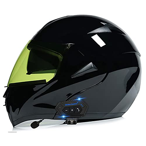 LIRONGXILY Casco Moto Modular Casco Moto Bluetooth Integrado Casco Integral Modular Casco de Moto con Doble Visera para Hombre o Mujer ECE Homologado (Color : H, Size : 57-58(M))