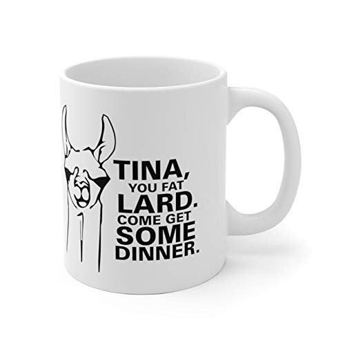 DKISEE Ceramic Mugs Napoleon Dynamite Movie Tina You Fat Lard Come Get Some Dinner Llama Funny Gifts Mugs Coffee Tea 11oz