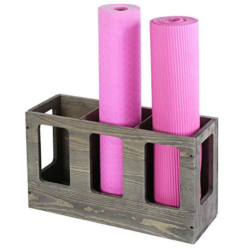 MyGift Vintage Gray Wood Gym Sports Fitness Foam Roller Holder Wall Mounted or Floor Storage Rack