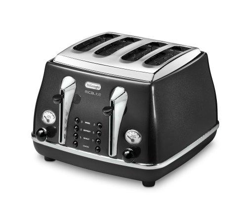 De'Longhi Icona Micalite CTOM4003BK 4-Slice Toaster - Black