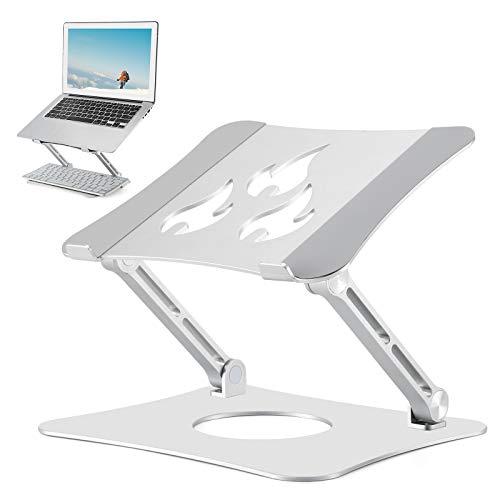 Cozime Mesa Ordenador Portatil, Base Ajustable y Plegable, Soporte de Ratón para Notebook PC Laptop Ordenador (Plata)