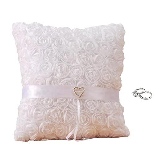 WDING Anillo de boda almohada cojín de anillo de rosa almohada anillo de amor diamante caja de rosa blanco flores para playa boda fiesta propuesta regalo