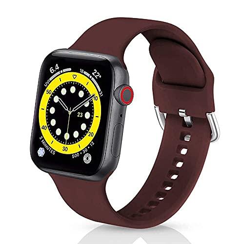 Correas de Silicona Compatible con iWatch 42mm 38mm 44mm 40mmm, Solo Loop Deportiva Straps Compatible con Apple Watch Series 6/5/4/3/SE, Correa para Band 42mm/44mm,Vino