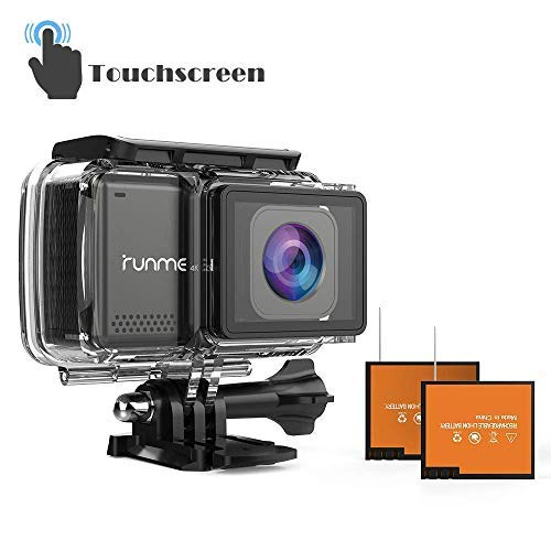 """RUNME R3 2.45"""" Touchscreen 4K 16MP Wi-Fi Action Camera, Sony Image Sensor, 30M Water Resistant Camcorder with 170° Wide-angle Lens, Sports Cam with Accessories Kit & 2 Rechargeable Batteries (Grey)"""