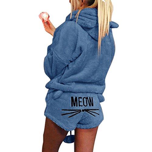 Fangcheng Damen Pyjama Sets Bestickt Plüsch Langarm mit Kapuze Top und Shorts Winter Warme Weibliche Katze Brief Nachtwäsche Sets