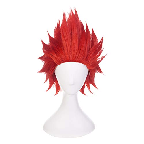 Qiancoshair My Hero Academia Kirishima Eijiro Cosplay Wig Red Short Curly Costume Wig