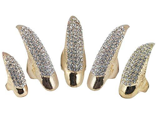 Demarkt 5 PCS Mittlere Größe Gotik Punk Stil Kristall Strasstein Klaue Pfote Künstlich Nagel Nagelformen-Gold