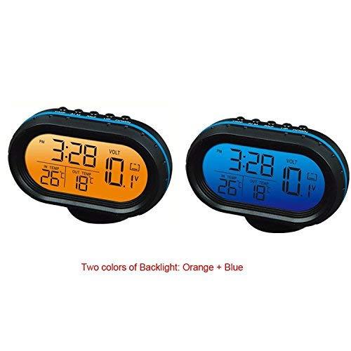 Yosoo 12V Termómetro digital del voltímetro del reloj de alarma del monitor, multifuncional Autometer voltaje del reloj de congelación Medidor de temperatura, medidor de detector de reloj LCD monitor de la batería Pantalla LED(azul)