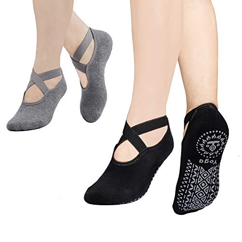 MaoXinTek Calcetines Yoga para Mujer 2 Pair Antideslizantes Algodón Pilates Calcetines con Correas para Danza Ballet Fitness Negro+Gris