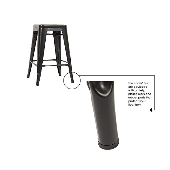 """FDW Metal Bar Stools Set of 4 Counter Height Barstool Stackable Barstools 24 Inch 30 Inch Indoor Outdoor Patio Bar Stool Home Kitchen Dining Stool Backless Bar Chair (Black, 24"""") 5 ❤【STACKABLE AND EASY TO STORAGE】: Each bar stools is the same size, and the feet are open to the outside, which is a special design to storage.Durable bar stools can be stacked and to save storage space when you don't need them. ❤【THE MATTE RUST-PROOF METAL STOOLS】: The 30"""" bar stools is protected by high-quality paint, high-quality paint forms a protective film on the surface of the bar stools, which is scratch-resistant and smell-free. Easy to clean, and suitable for a wide range of occasion. ❤【PROTECT THE FLOOR】: Anti-slip plastic mats on the four feet of the bar chair,can be slip-resistant and protect your floor when you move it. There are four pedals around the bar stools. When you are tired, you can placed your feet on footrest, relax and enjoy your time."""