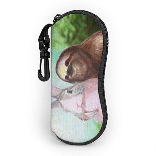 Sonnenbrille Brillenetui Kaninchen und Sluht Tasche Kratzfest staubsichere Brillenbox mit Gürtelclip für Schlüssel, Bleistifte, Karten