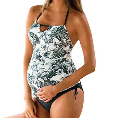 VECDY Bikini Premama Verano, Bañadores Premama 2 Piezas Floral De Maternidad Sin Tirantes Moda Suave Bikinis 2019 Ajustable Monokini Push Up Ropa De Playa Traje De Embarazo Verano (Blanco,3XL)